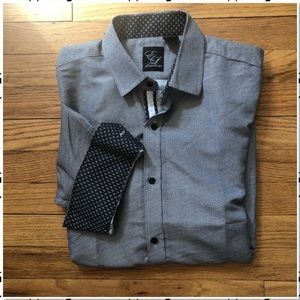 English Laundry Grey Flip Cuff Button Down S